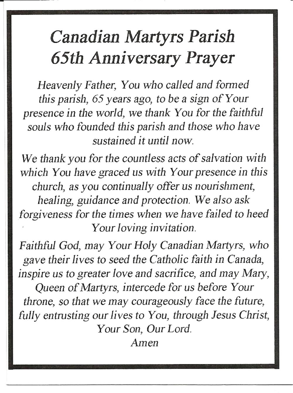 Canadian Martyrs Parish 65th Anniversary
